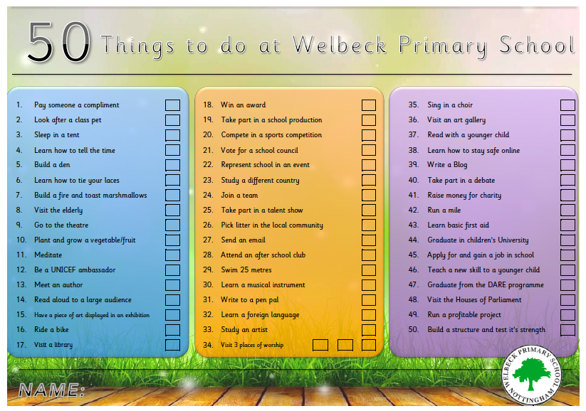 SMSC – 50 Things to do at Welbeck » Welbeck Primary School
